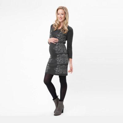 فستان جاكوارد الرمادي