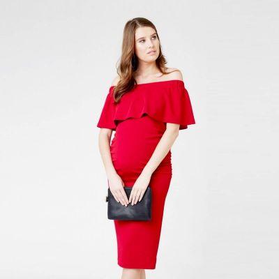 فستان سوارية أوفشولدر الأحمر
