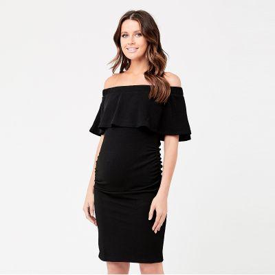 فستان سوارية أوفشولدر الأسود