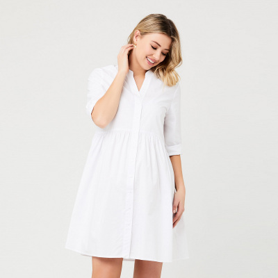 فستان باين بوبلاين الأبيض